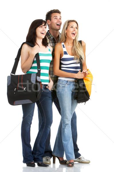 Studenten jonge glimlachend geïsoleerd witte meisje Stockfoto © Kurhan