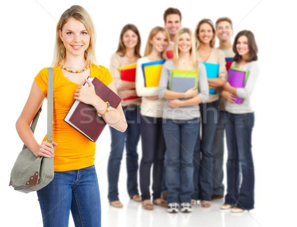 Diákok nagyobb csoport mosolyog izolált fehér férfi Stock fotó © Kurhan