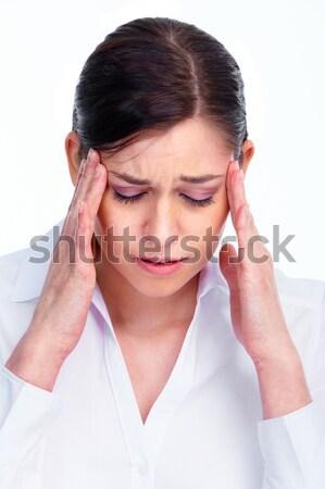 Mulher dor de cabeça cansado mulher de negócios enxaqueca isolado Foto stock © Kurhan