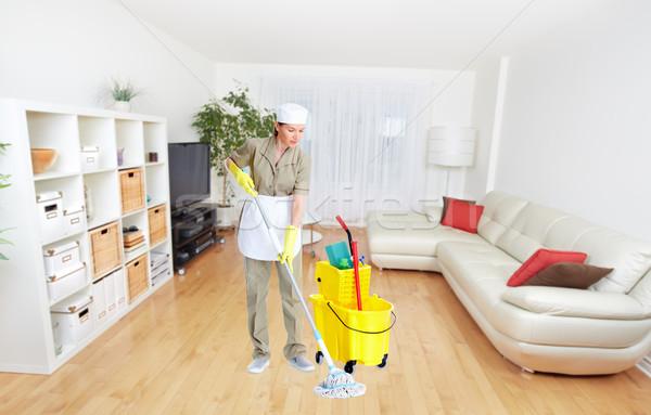 Szobalány nő ház takarítás szolgáltatás munka Stock fotó © Kurhan