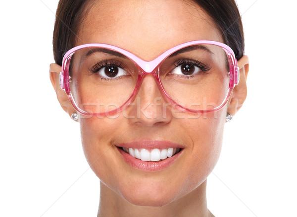 Сток-фото: красивой · молодые · Lady · розовый · очки