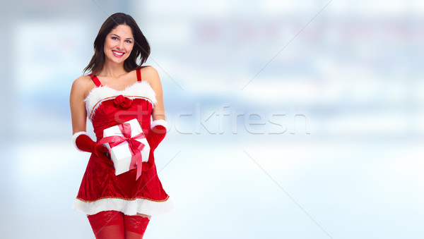 サンタクロース ヘルパー ビジネス女性 現在 クリスマス 少女 ストックフォト © Kurhan