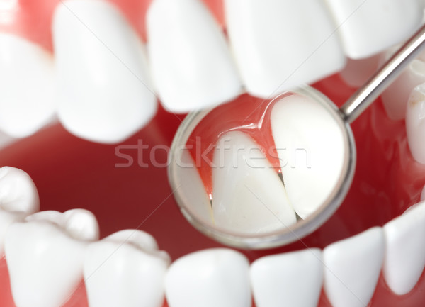 Dents saine humaine dentiste bouche miroir Photo stock © Kurhan