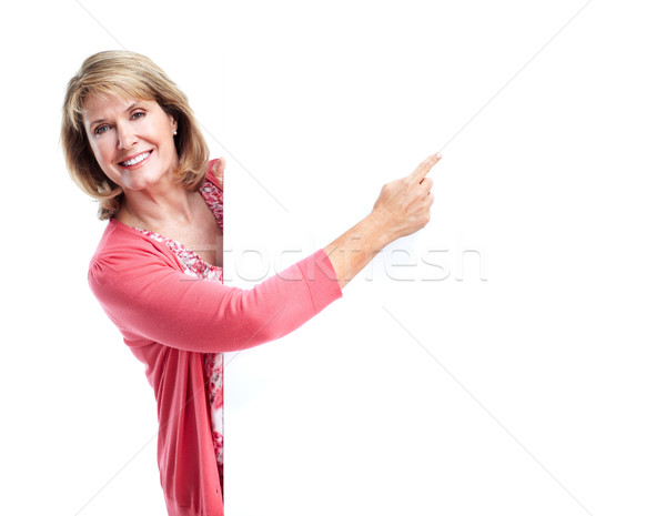 Kıdemli gülümseyen kadın afiş beyaz kadın gülümseme Stok fotoğraf © Kurhan