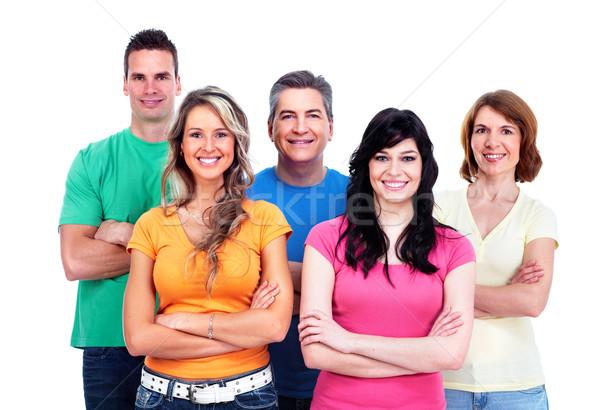 Foto stock: Grupo · pessoas · felizes · isolado · branco · família · sorrir