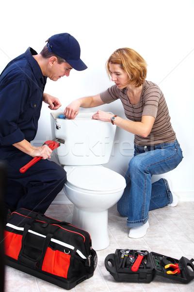 Profissional encanador banheiro reparação encanamento reparar Foto stock © Kurhan