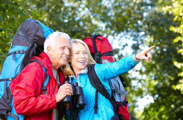 幸せ ハイキング 公園 女性 スポーツ ストックフォト © Kurhan