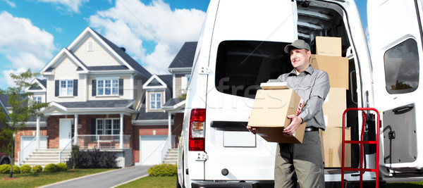 Stock photo: Delivery postal service man.
