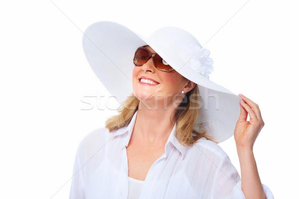 Mulher óculos de sol seis senior férias de verão Foto stock © Kurhan