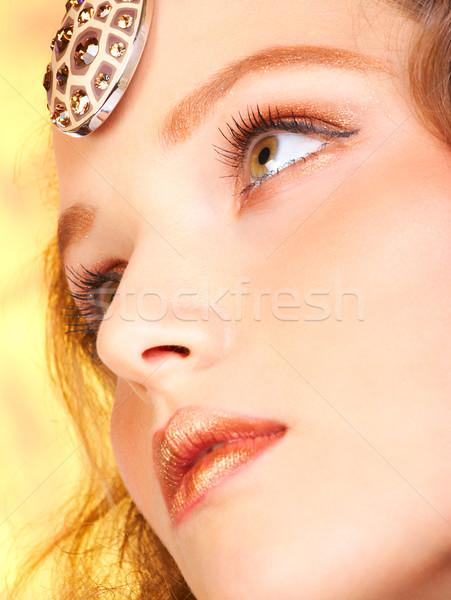 Stock foto: Schöne · Frau · Gesicht · schönen · golden