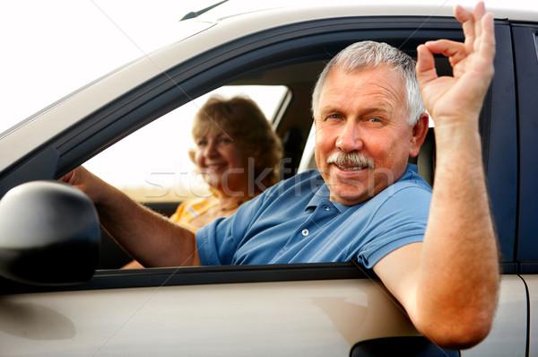 Stockfoto: Ouderen · paar · glimlachend · gelukkig · vrouw