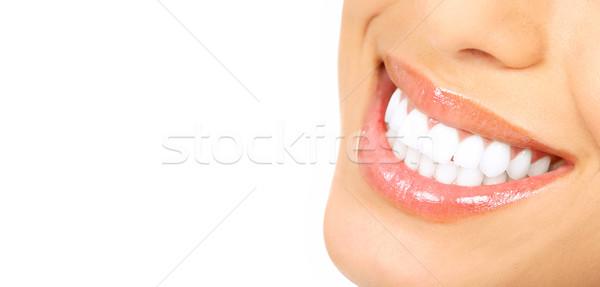 Foto stock: Mujer · dientes · hermosa · aislado · blanco