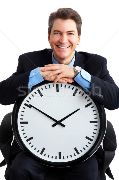 Сток-фото: бизнесмен · красивый · часы · белый · служба