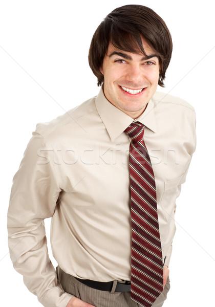 ビジネスマン 小さな 笑みを浮かべて 孤立した 白 背景 ストックフォト © Kurhan