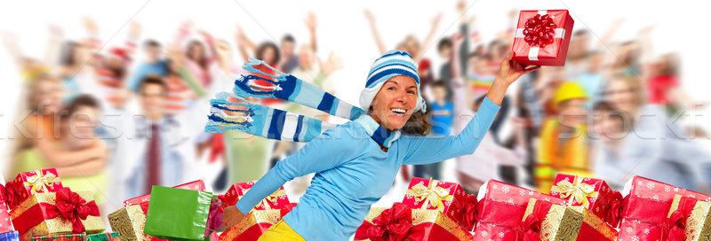 Christmas ludzi tłum prezenty szczęśliwy śmiechem Zdjęcia stock © Kurhan