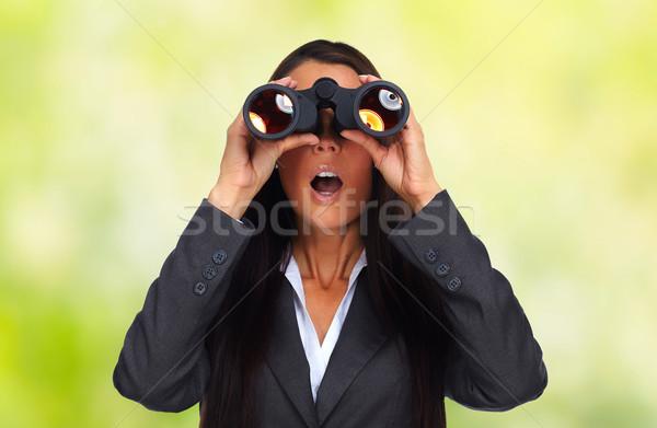 Mulher de negócios binóculo verde negócio olho estudar Foto stock © Kurhan
