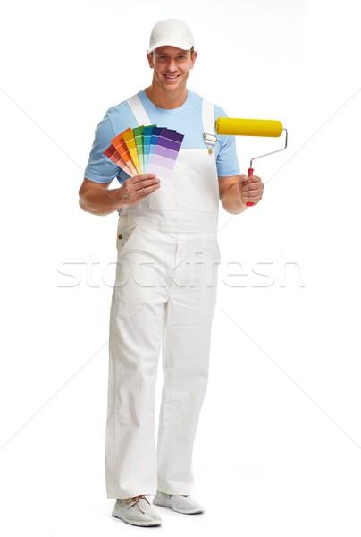 Photo stock: Peintre · homme · jeunes · peinture · isolé · blanche