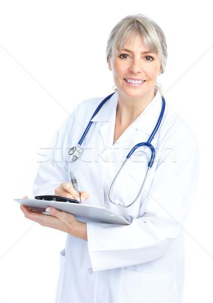 Foto stock: Médico · sorridente · médico · mulher · estetoscópio · isolado