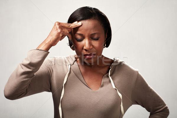 Depresszió afroamerikai nő fejfájás migrén szürke Stock fotó © Kurhan