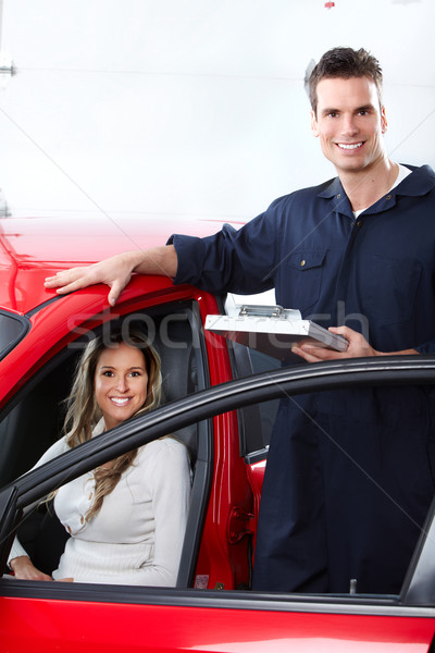 Foto stock: Mecánico · de · automóviles · guapo · mecánico · mujer · auto · reparación