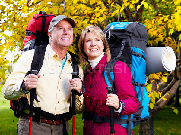 Stock photo: Hiking senior couple.