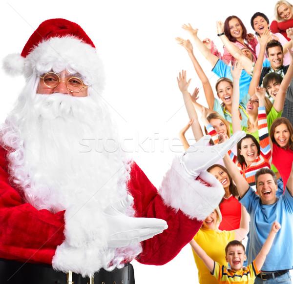 Feliz papai noel grupo pessoas felizes natal festa Foto stock © Kurhan