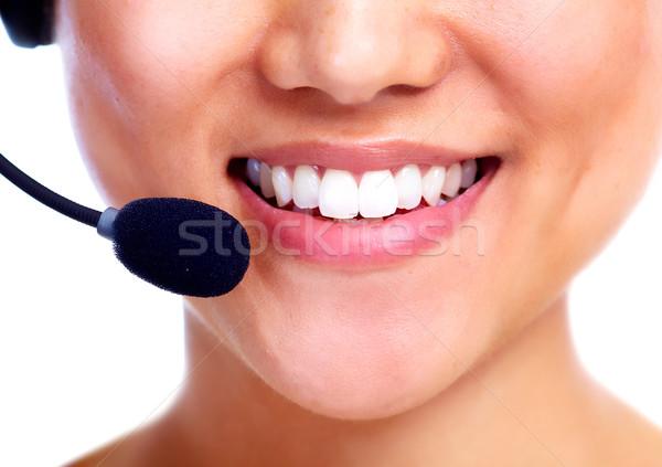 Call center operador chinês empresária mulher de negócios isolado Foto stock © Kurhan