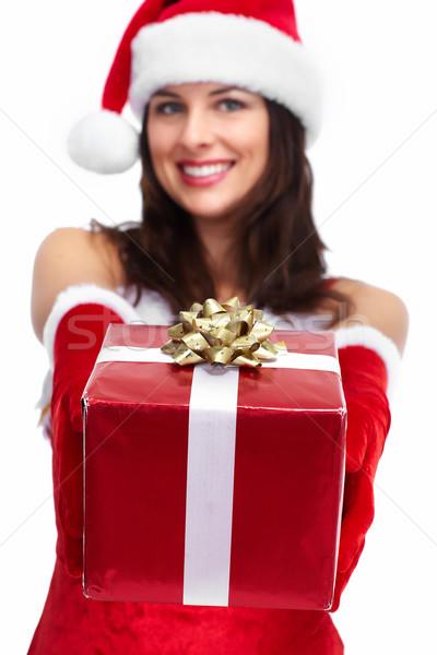 Mikulás segítő karácsony lány ajándék gyönyörű Stock fotó © Kurhan