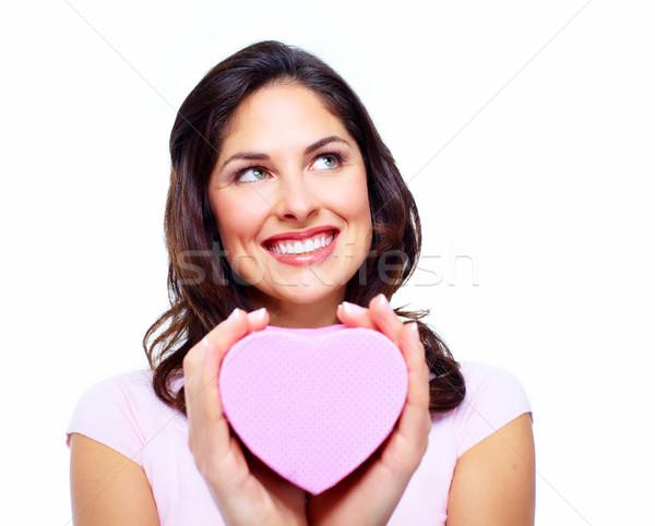 Stok fotoğraf: Güzel · bir · kadın · kalp · kutu · yalıtılmış · beyaz · kız