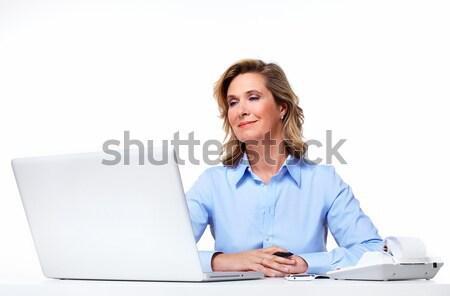 Business woman with a laptop computer. Stock photo © Kurhan