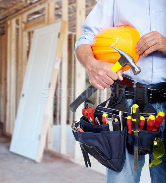 Trabalhador ferramenta cinto indústria da construção casa homem Foto stock © Kurhan