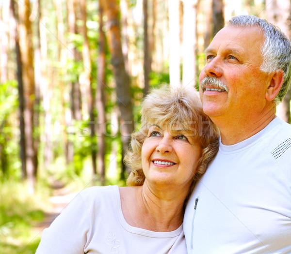 高齢者 カップル 笑みを浮かべて 幸せ 夏 森林 ストックフォト © Kurhan