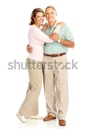 Idős pár boldog szeretet izolált fehér Stock fotó © Kurhan