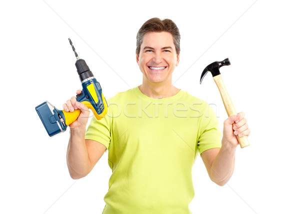Man with hammer and drill Stock photo © Kurhan