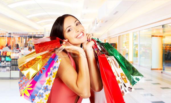 Stock foto: Warenkorb · Frau · lächelnd · Einkaufszentrum · Business
