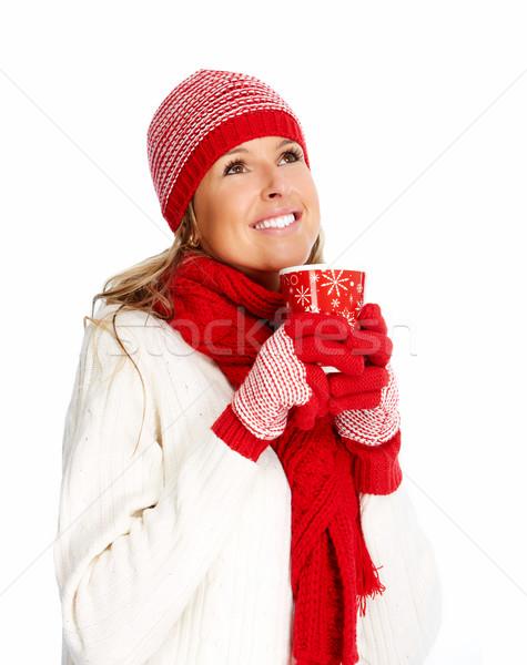 Stockfoto: Jonge · vrouw · drinken · hot · thee · christmas · vrouw