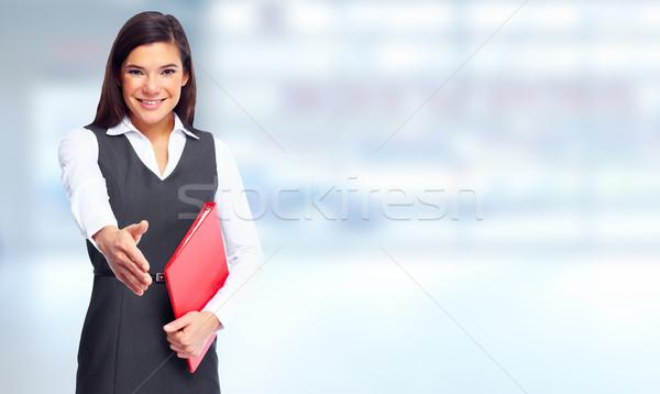 Stok fotoğraf: Iş · kadını · el · sıkışma · mavi · afiş · iş · kız