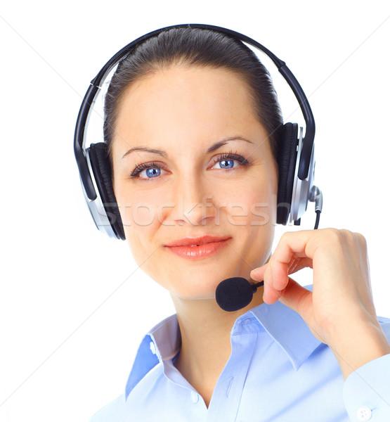 Call center operador belo fone isolado branco Foto stock © Kurhan