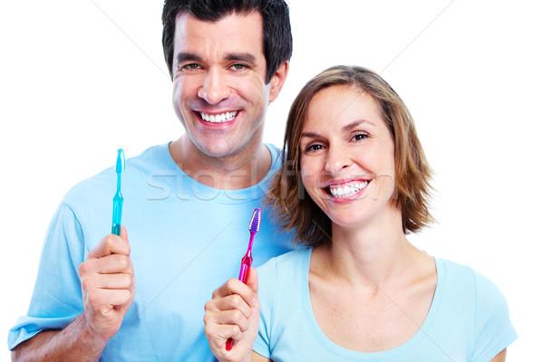 Couple with toothbrush. Stock photo © Kurhan
