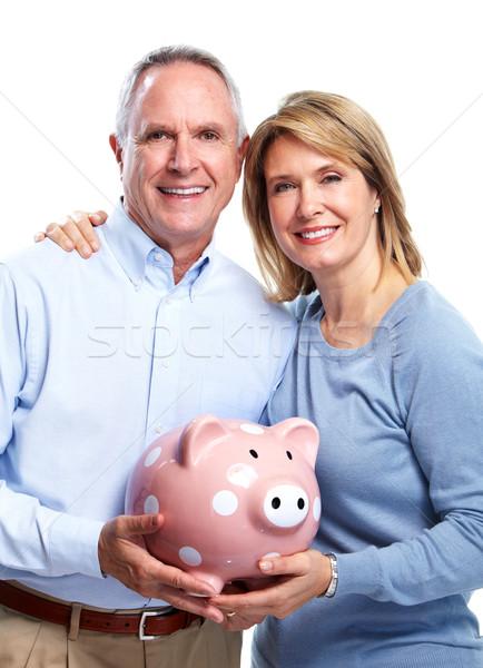 Idős pár persely izolált fehér pénz férfi Stock fotó © Kurhan