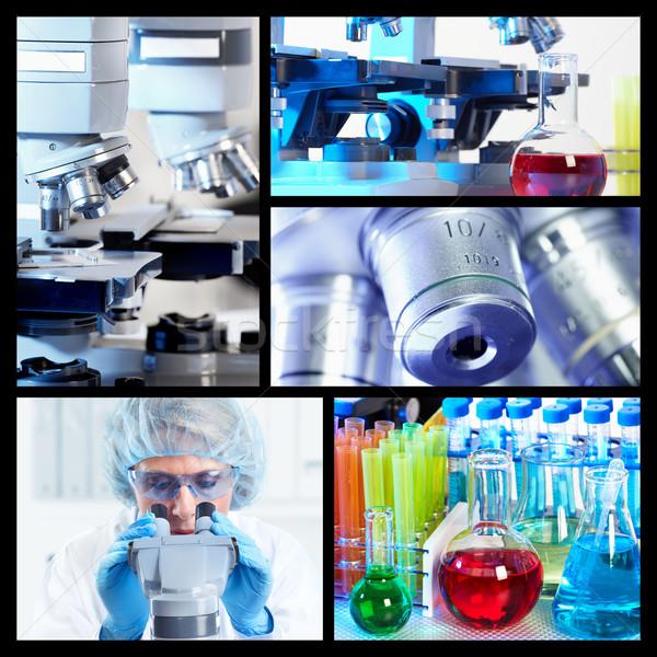 Сток-фото: научный · коллаж · медицинской · исследований · врач · микроскоп