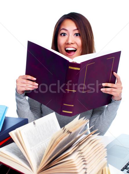 Diák fiatal ázsiai lány olvas könyv Stock fotó © Kurhan