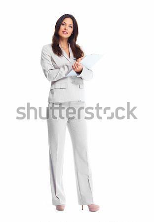 ストックフォト: ビジネス女性 · 美しい · 小さな · 孤立した · 白 · ビジネス