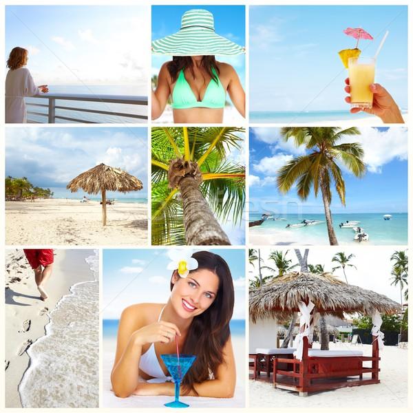 Exótico lujo Resort collage mujer hermosa bikini Foto stock © Kurhan