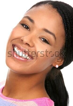 Stockfoto: Zakenvrouw · jonge · glimlachend · geïsoleerd · witte · business