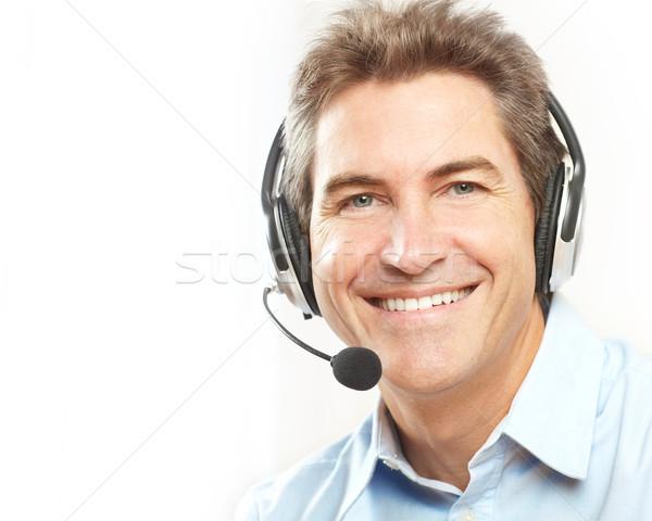 Klantenservice exploitant glimlachend witte business man Stockfoto © Kurhan