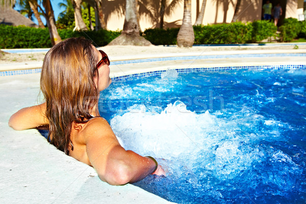 Woman in jacuzzi Stock photo © Kurhan