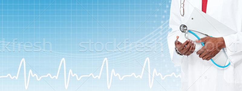 Medische arts handen gezondheidszorg banner Stockfoto © Kurhan