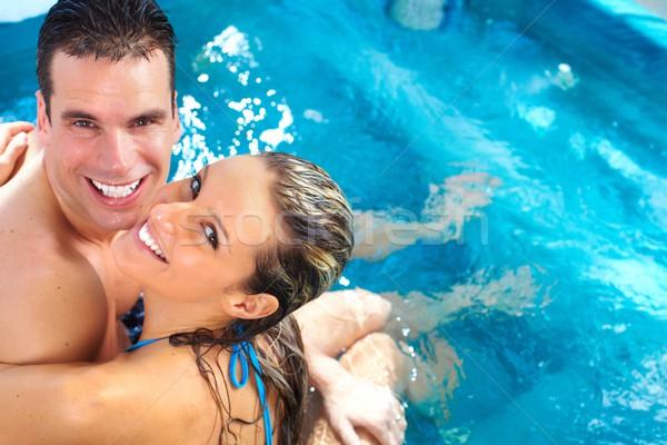 Relaks jacuzzi hot tub człowiek Zdjęcia stock © Kurhan