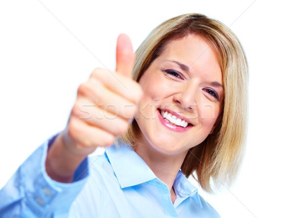 Stockfoto: Zakenvrouw · gelukkig · geïsoleerd · witte · vrouw · gezicht